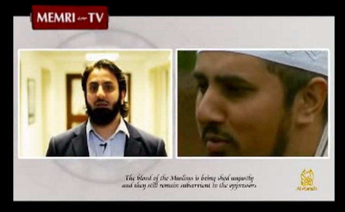 Hamza Tzortzis and Mohammed Ansar depicted side by side in the Al-Shabaab video