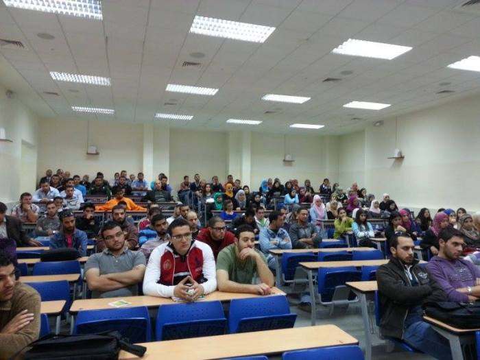 Students and lecturers listen to the lecture at the Lebanon International University (LIU), Bekaa valley, on 'Does Islam need reformation?'
